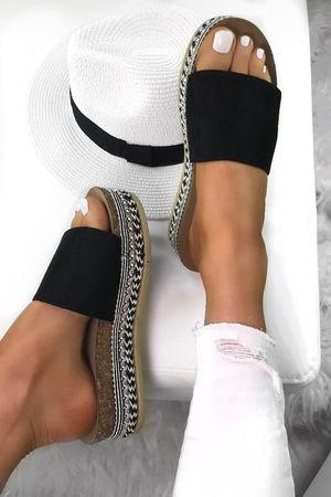 LUNA Black Stud Sliders With Silver Detail