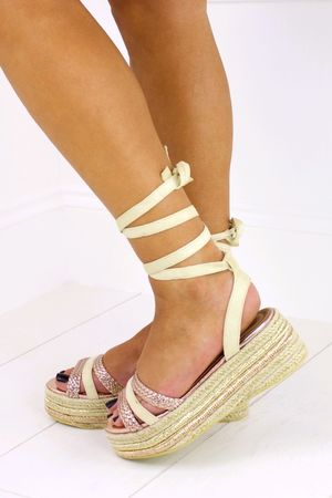 LUNA Rose And Cream Espadrille Flatform