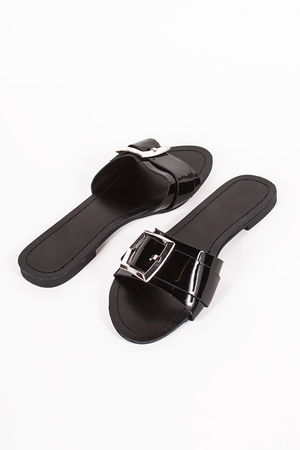 MIA Black Buckle Strap Sliders