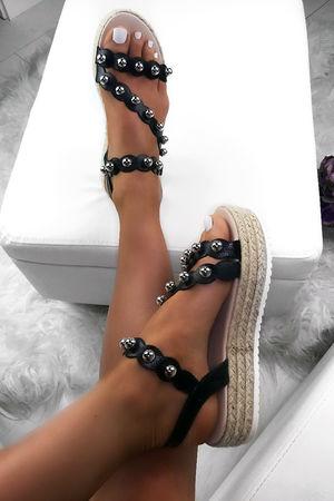 MINA Black Stud Espadrille Flatforms
