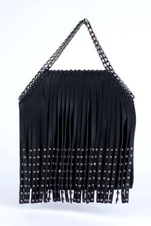 LIA Black Stud Fringe Tassel Bag