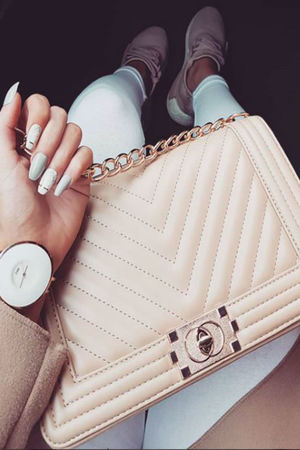 MOLLY Beige Quilted Chain Shoulder Bag With Gold Detail
