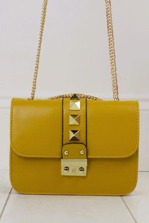 GIOVANNI Mustard Stud Shoulder Bag