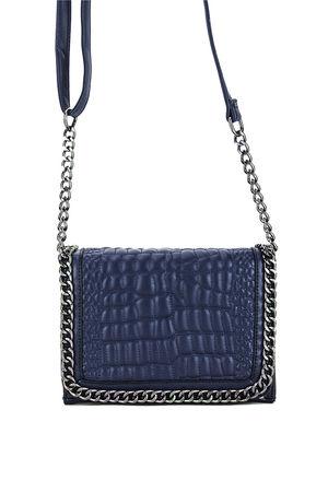 KYLIE Navy Blue Leather Crocodile Chain Bag-Copy-Copy