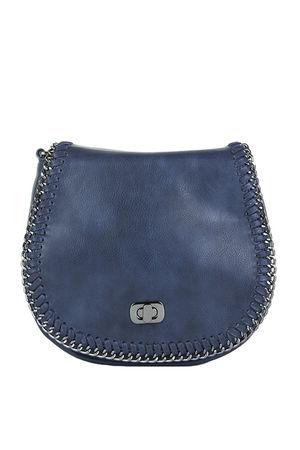 CARNEY Navy Chain Detail Shoulder Bag