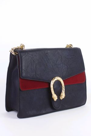 NATASHA Navy Emblem Shoulder Bag