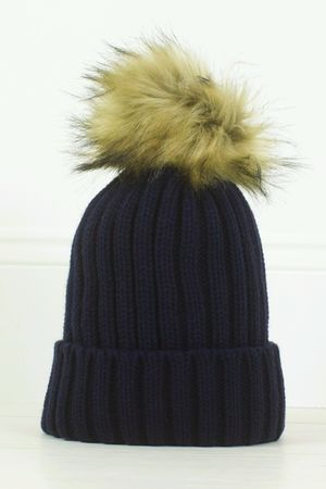 MADDY Navy Faux Fur Bobble Hat