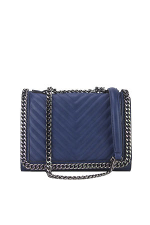 EVE Blue Quilted Chain Cross Body Bag