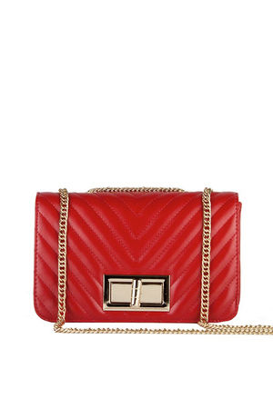 STEPHANIE Red Quilted Chain Shoulder Bag With Gold Detail