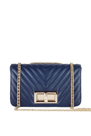 STEPHANIE Navy Quilted Chain Shoulder Bag With Gold Detail