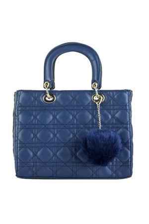 LENA Navy Quilted Shopper Bag