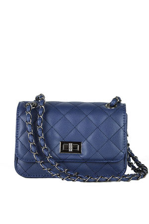 LEAH Navy Quilted Bag With Chain Detail
