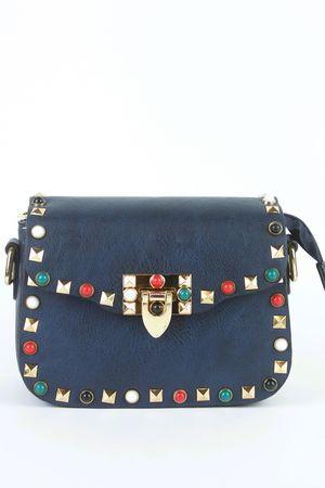 MAYA Navy Stud Shoulder Bag