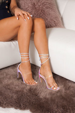 NICKI Holographic Snake Print Wrap Up Flat Block Heels