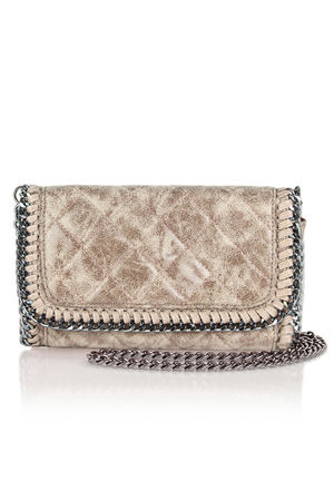 MYA Taupe Quilted Faux Suede Chain Clutch Shoulder Bag