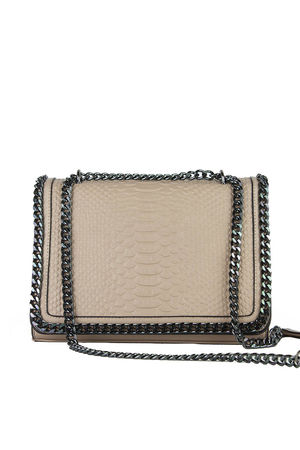 APRIL Nude Faux Leather Crocodile Chain Bag