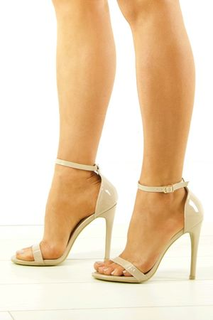 SAVANNAH Nude Patent Barely There Heels