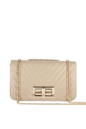 STEPHANIE Beige Quilted Chain Shoulder Bag With Gold Detail