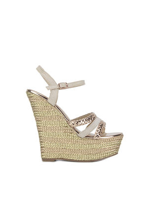 ALESHA Rose Gold Metallic Espadrille Wedge