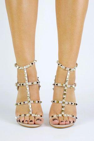 SELINA Nude Stud Strappy Heels