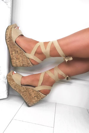CAPRICE Nude Wrap Up Wedges