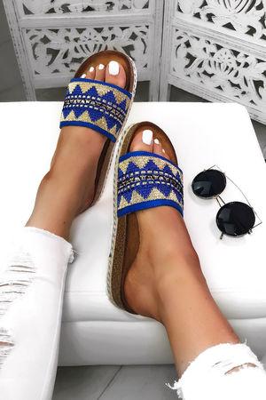 SOPHIA Blue Aztec Strap Sliders