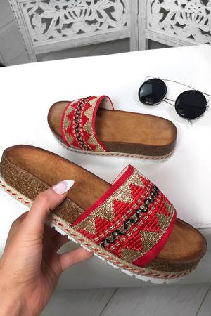 SOPHIA Red Aztec Strap Sliders