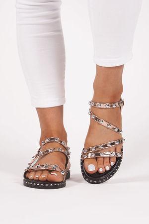 OLIVIA Rose Gold Studded Strap Sandals