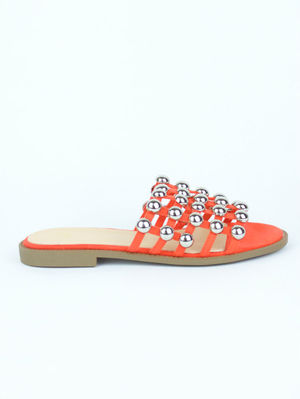 KAYA Orange Bauble Mule Sandal