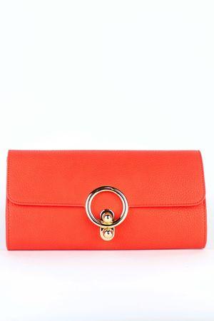 MILLIE Orange Ring Detail Clutch Bag