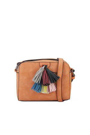 HAILEY Orange Tassel Shoulder Bag