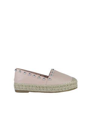 RENEE Pink Stud Espadrilles With Silver Detail