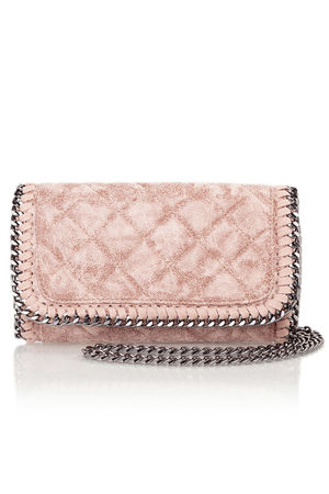 MYA Pink Quilted Faux Suede Chain Clutch Shoulder Bag