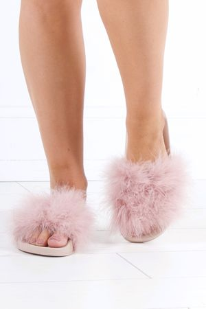 MEGAN Nude Faux Fur Slider