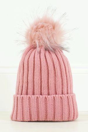 AMBER Pink Faux Fur Bobble Hat