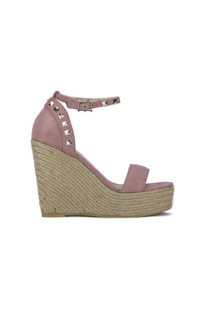 SELMA Pink Stud Wedges With Silver Detail