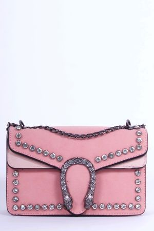 MICA Pink Snake Jewel Shoulder Bag
