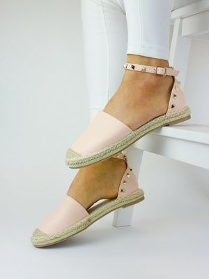 CLAUDIA Pink Faux Leather Stud Espadrille