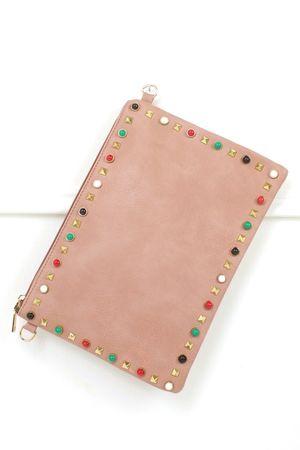 FREYA Pink Stud Clutch Bag