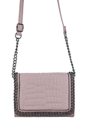 KYLIE Pink Faux Leather Crocodile Chain Bag