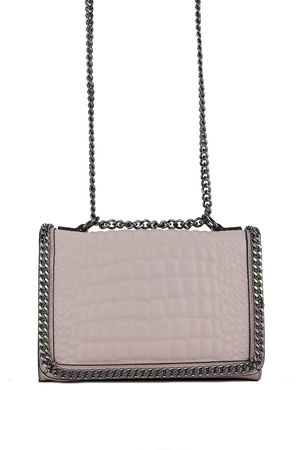 AURORA Pink Crocodile Cross Body Chain Bag