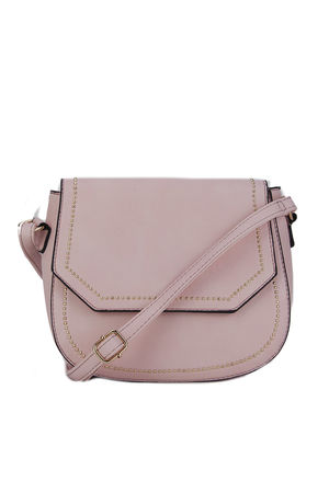 KARA Pink Cross body Bag with Gold Detail