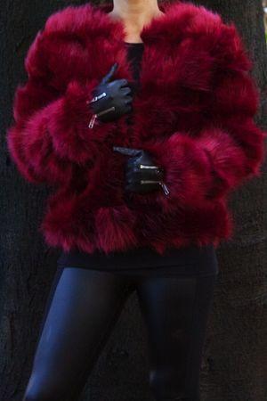 POLLY Wine Faux Fur Jacket