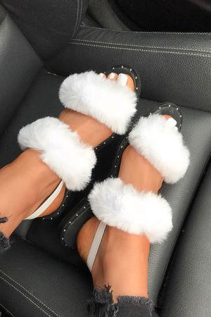 POPPY White Fluffy Stud Sandals