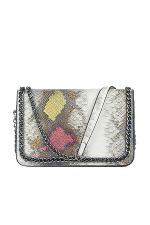 VANESSA Purple Python Chain Shoulder Bag With Silver