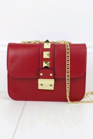 GIOVANNI Red Stud Shoulder Bag