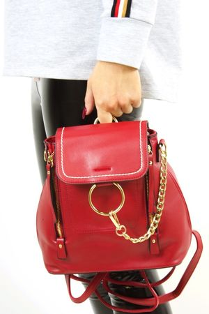 FINOLA Red Faux Leather Backpack
