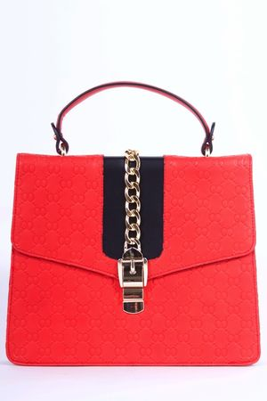 CALLY Red Embossed Satchel Chain Bag