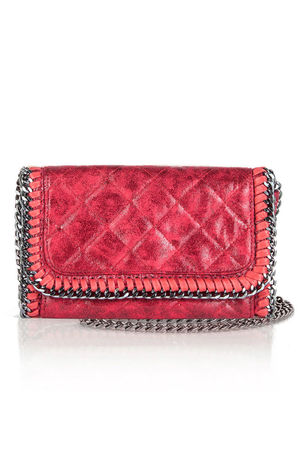 MYA Red Quilted Faux Suede Chain Clutch Shoulder Bag