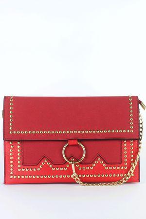 MISHCA Red Stud Clutch Bag